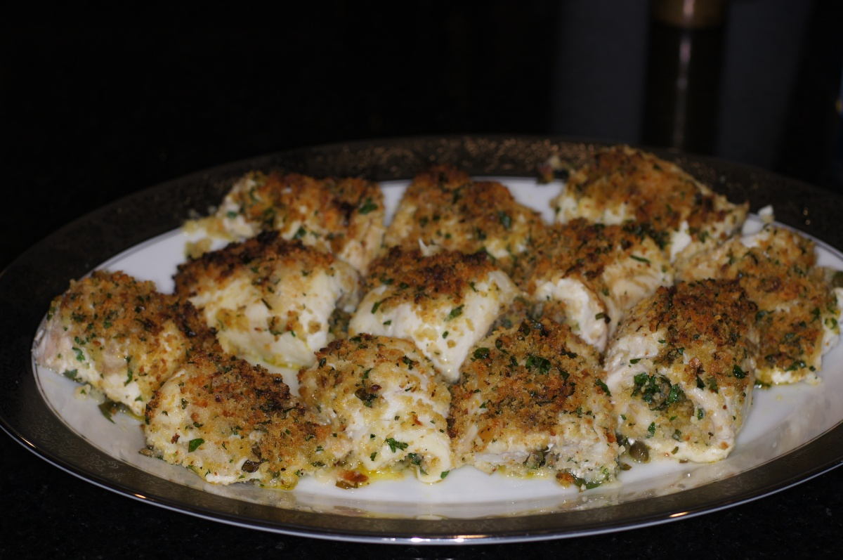 Filet of Sole Roulade Lightly Stuffed with Breadcrumbs