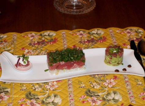 Tuna Tartare with Coconut Yuzu Kosho and Coconut Leche de Tigre