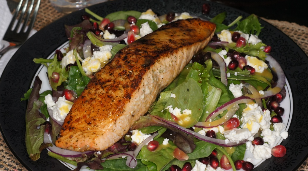 Salmon, Pomegranate, Feta Salad with Lemon Dijon Vinaigrette ...