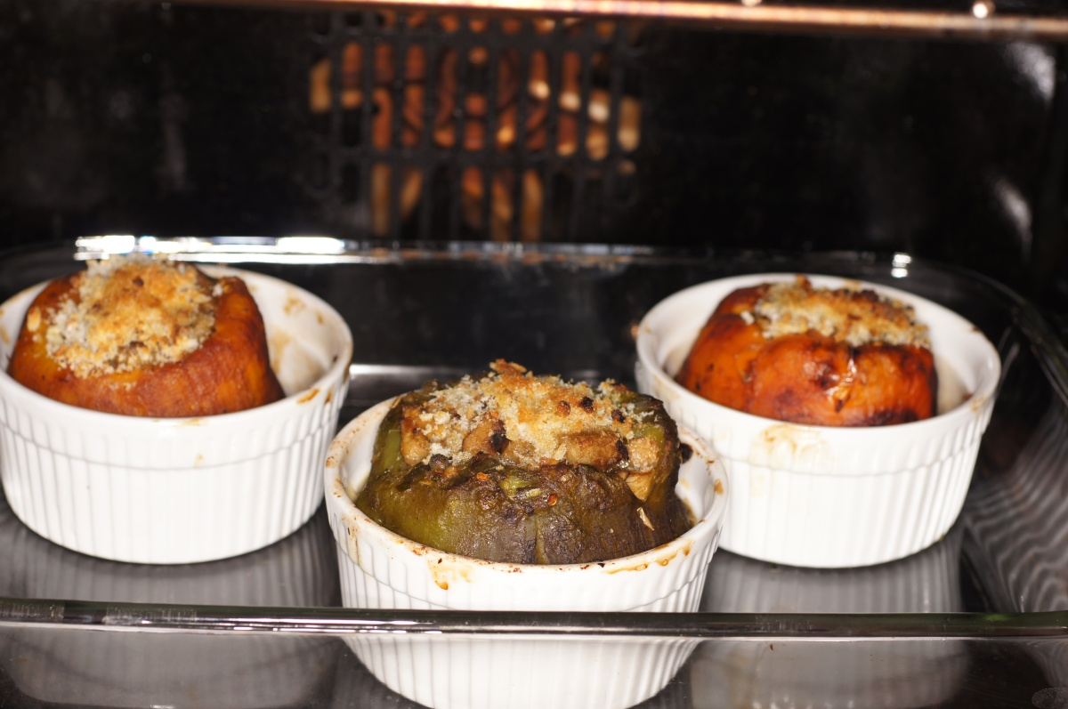 Stuffed Roasted Peppers with Eggplant and Mushroom Stuffing