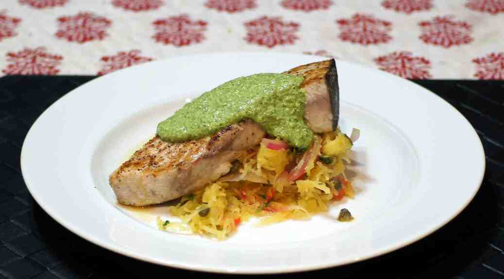 ... kebabs grilled swordfish steaks with olive pesto recipes dishmaps