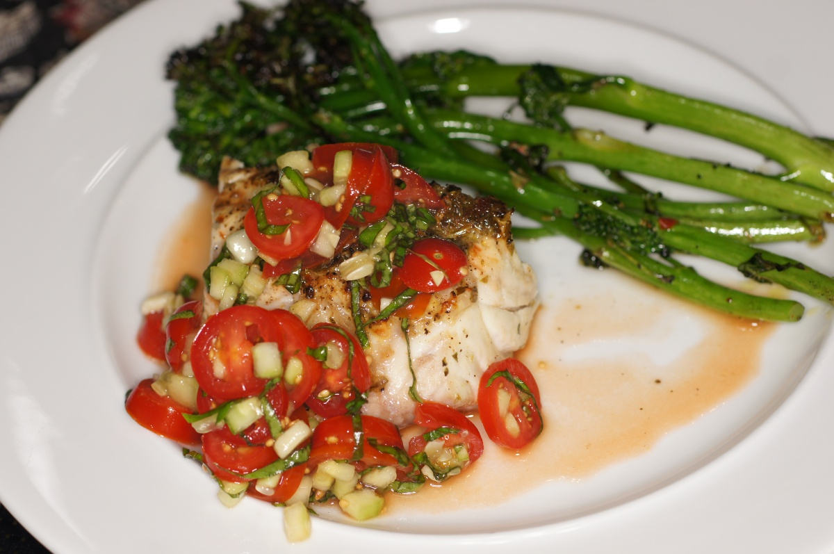 Grilled Grouper with Tomato, Cucumber & Basil Salad and Broccolini