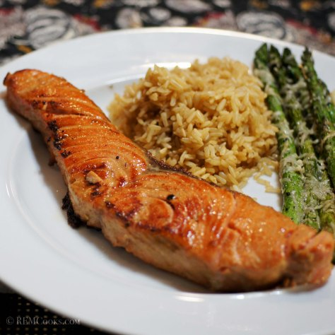 Bourbon Glazed Salmon with Roasted Asparagus