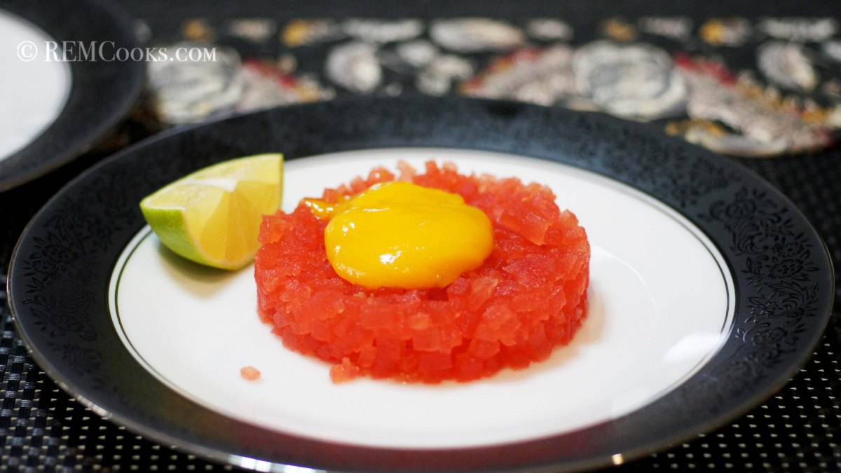 Faux Steak Tartare: Compressed Watermelon with Mango Yolk