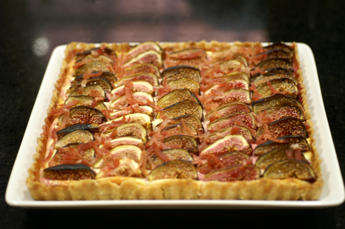 Fig, Honey & Goat Cheese Tart with Rosemary & Prosciutto