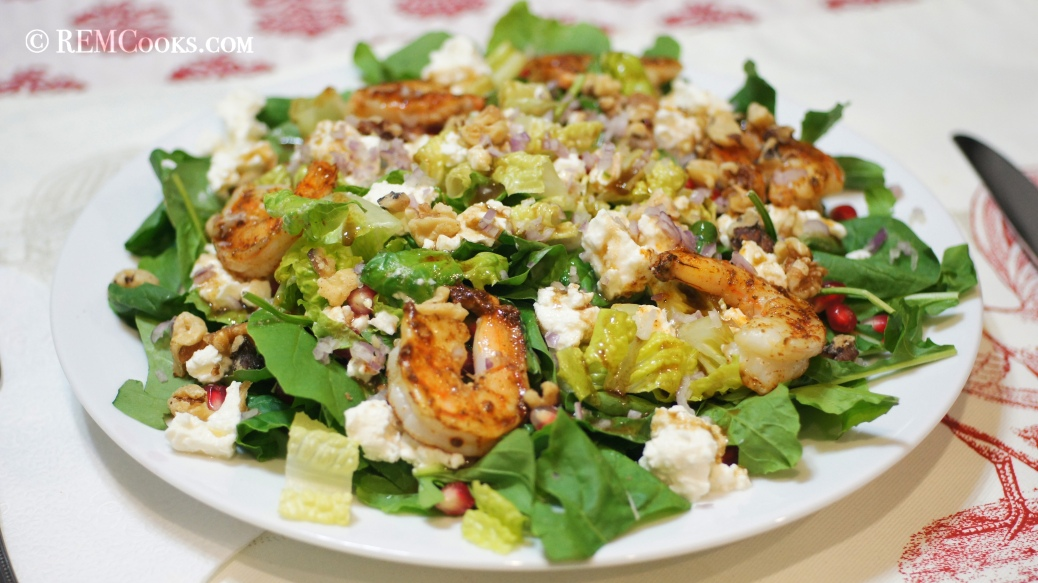 Dinner Salad with Fresh Greens, Shrimp, Pomegranate, Feta & Walnuts