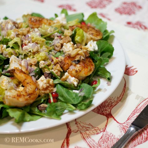 Dinner Salad with Fresh Greens, Shrimp, Pomegranate, Feta & Walnuts