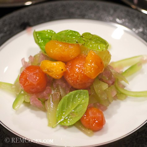 Marinated Tomatoes with Compressed Cucumber & Red Onion Relish