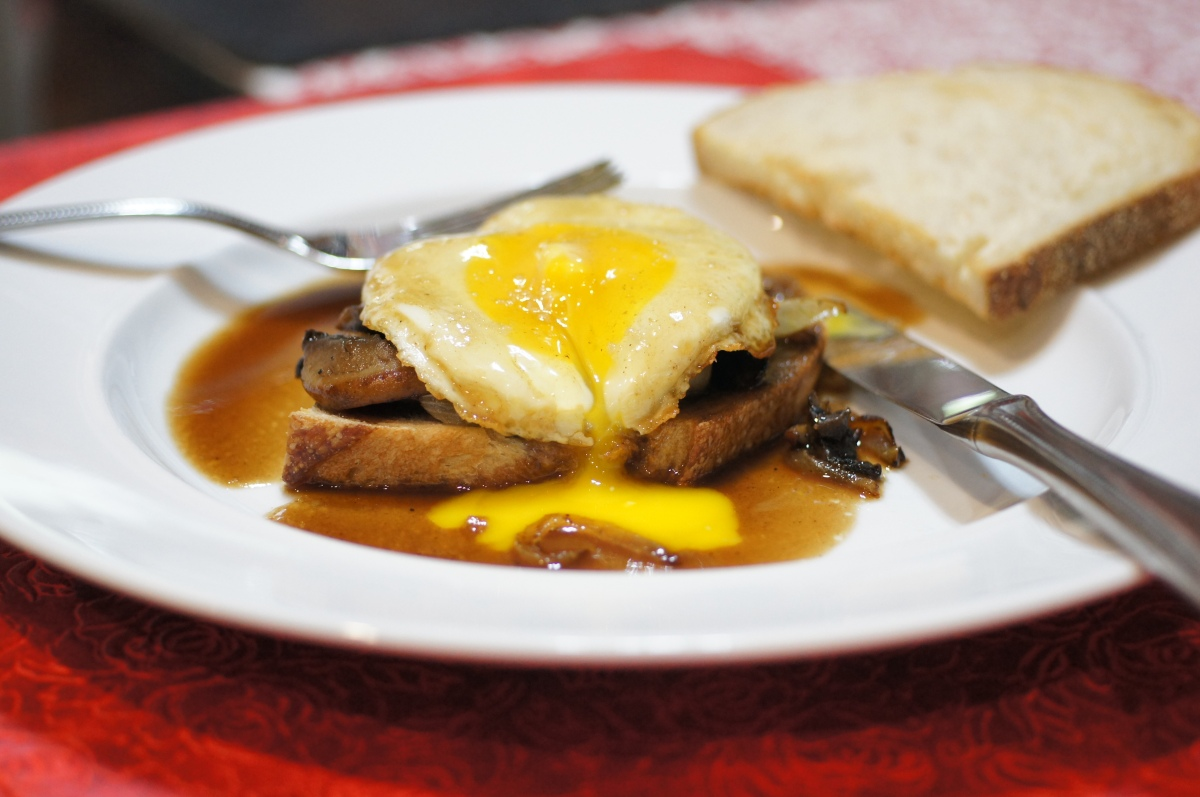 ... Mushrooms and Onions on Sourdough Toast Finished with Bourbon Sauce