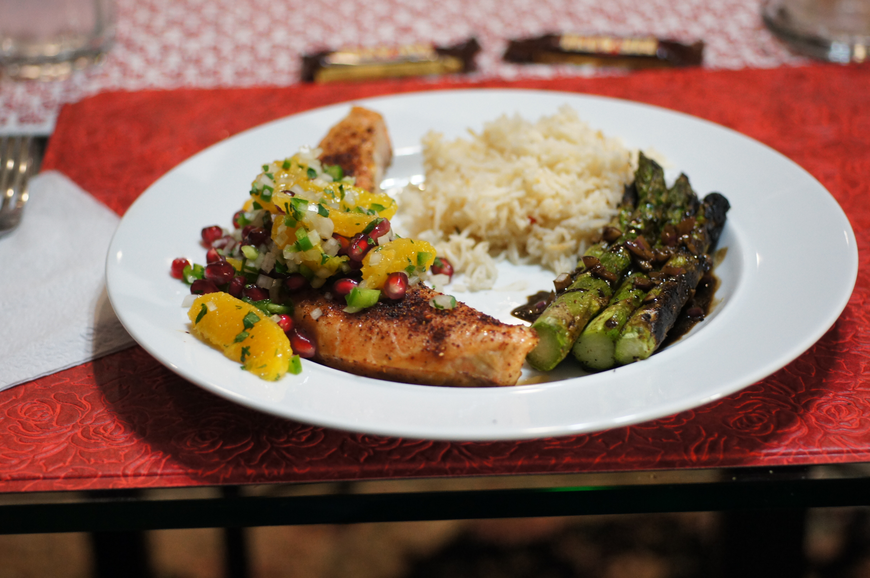 Cedar Plank Salmon with Orange & Pomegranate Salsa Accompanied with ...