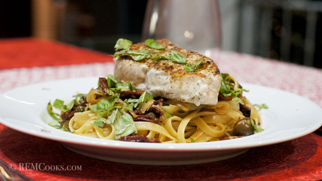 Mediterranean Inspired Swordfish on Linguini