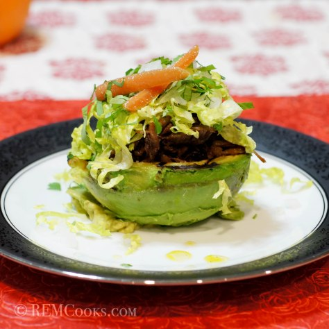 Grilled Avocado Stuffed with Chile Braised Pork