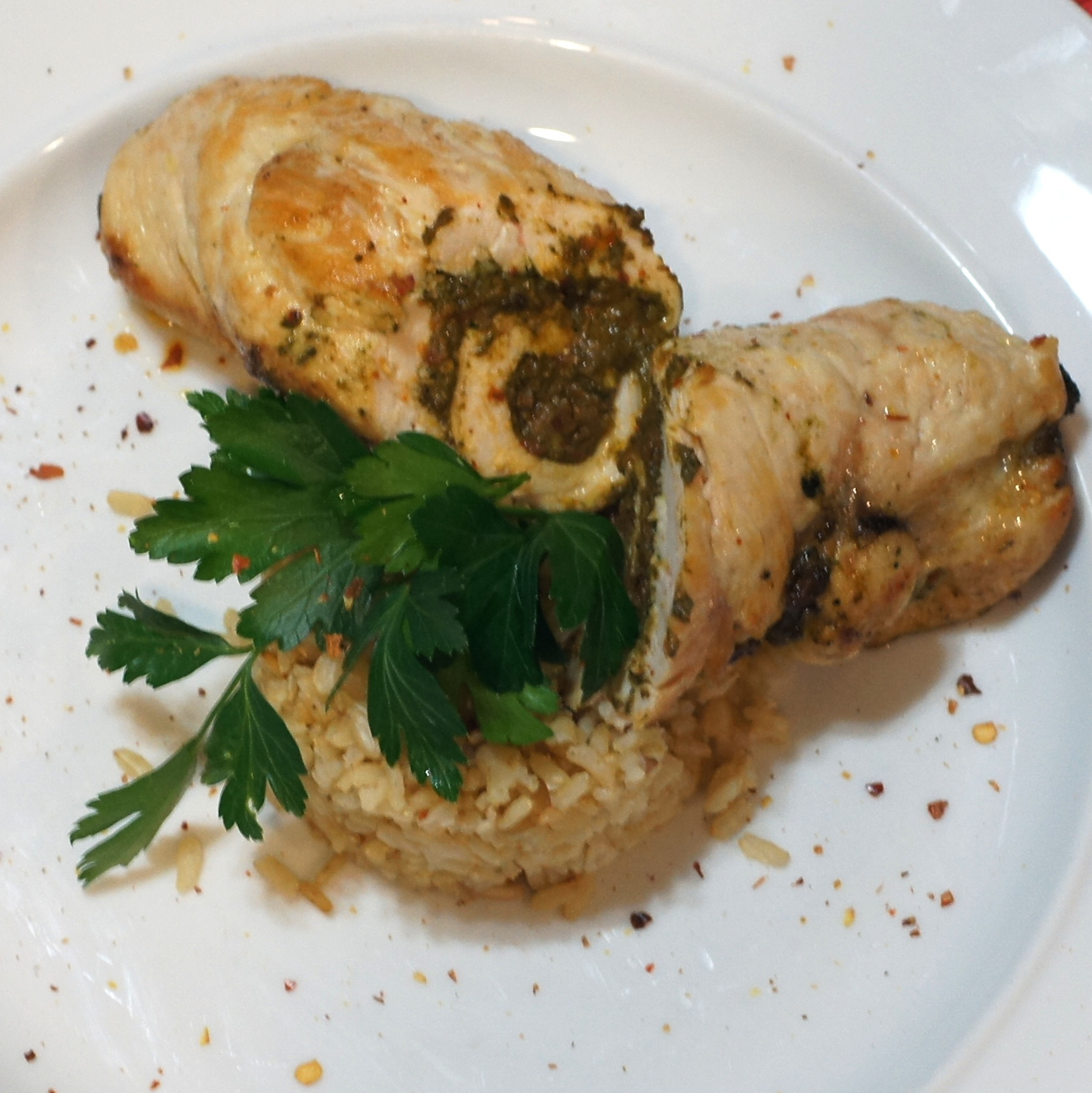 chicken roulade with spinach sun dried tomatoes goat cheese