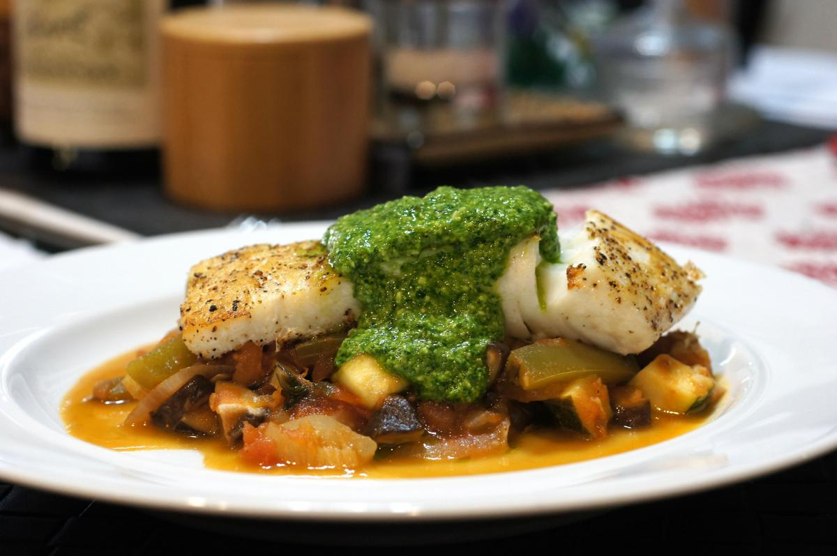Grilled Halibut with Citrus Pesto atop Vegetable Ragu