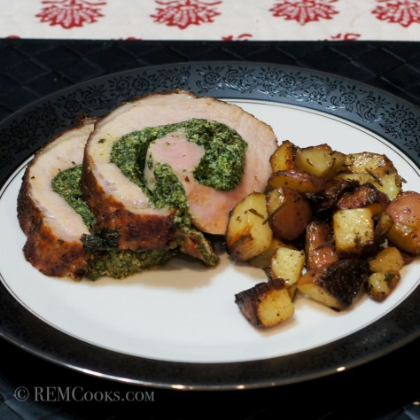 Berbere Seasoned Pork Loin Roulade Stuffed with Spinach & Goat Cheese