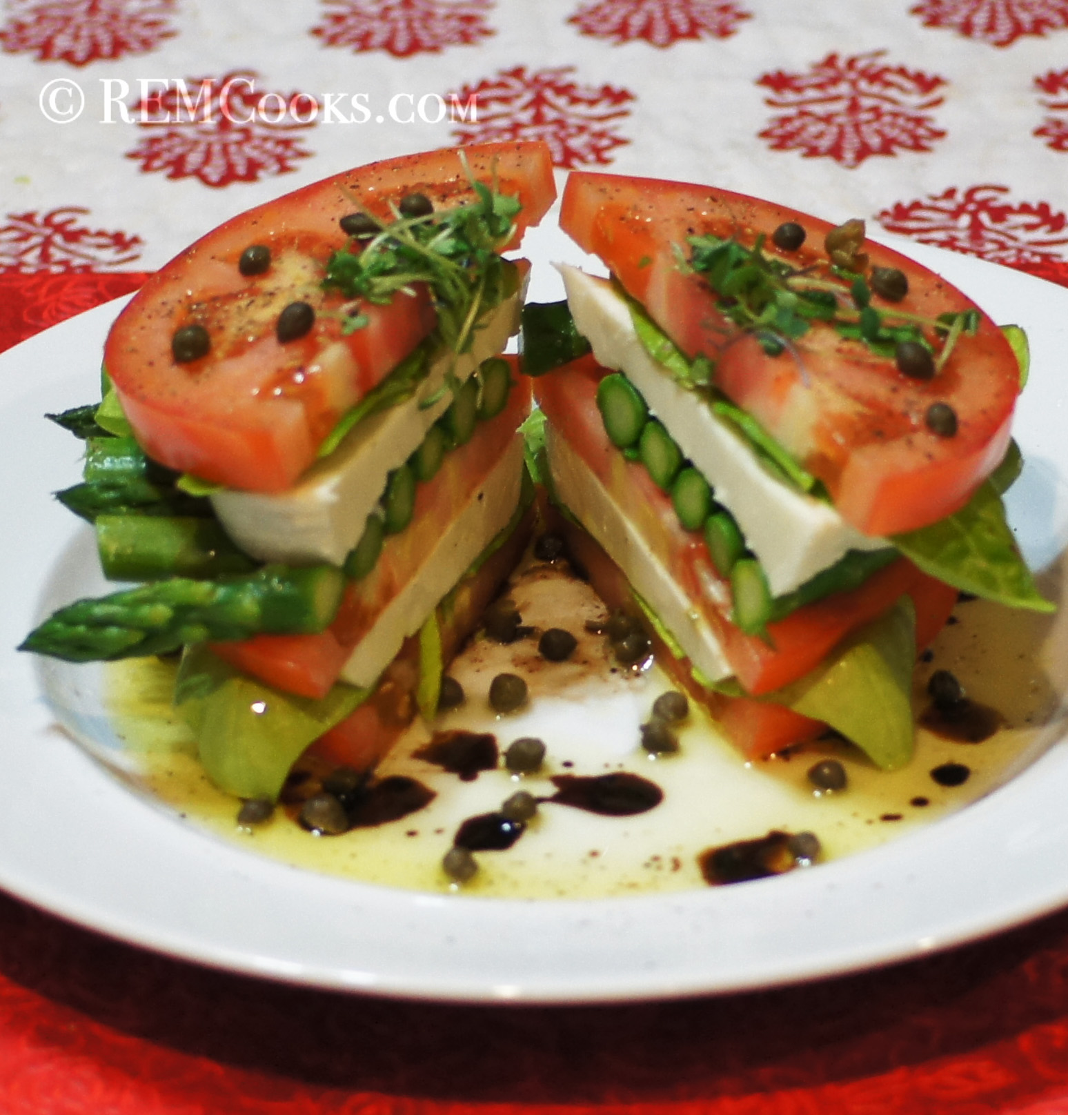 Stacked Caprese Salad with Asparagus | REMCooks