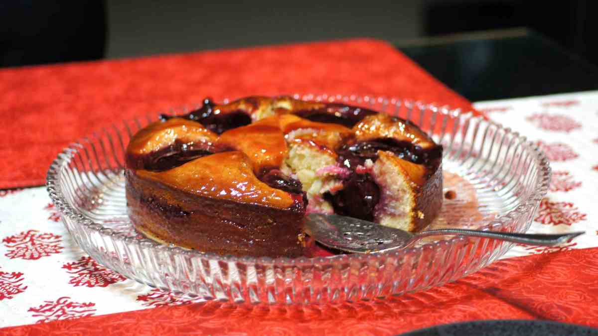 Almond Plum Cake with Plum Glaze