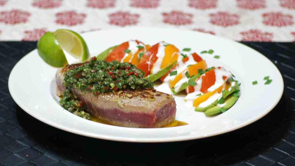 Seared Pepita Crusted Ahi Tuna with Chimichurri Sauce