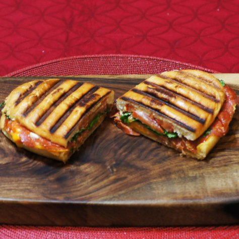 © 2014 REMCooks.com - A delicious Mastro Hot Calabrese, Piller's Old Forst Salami & Chedder Panini. Gorgeous Board and very tasty sandwich. Eat this Chairman. :)