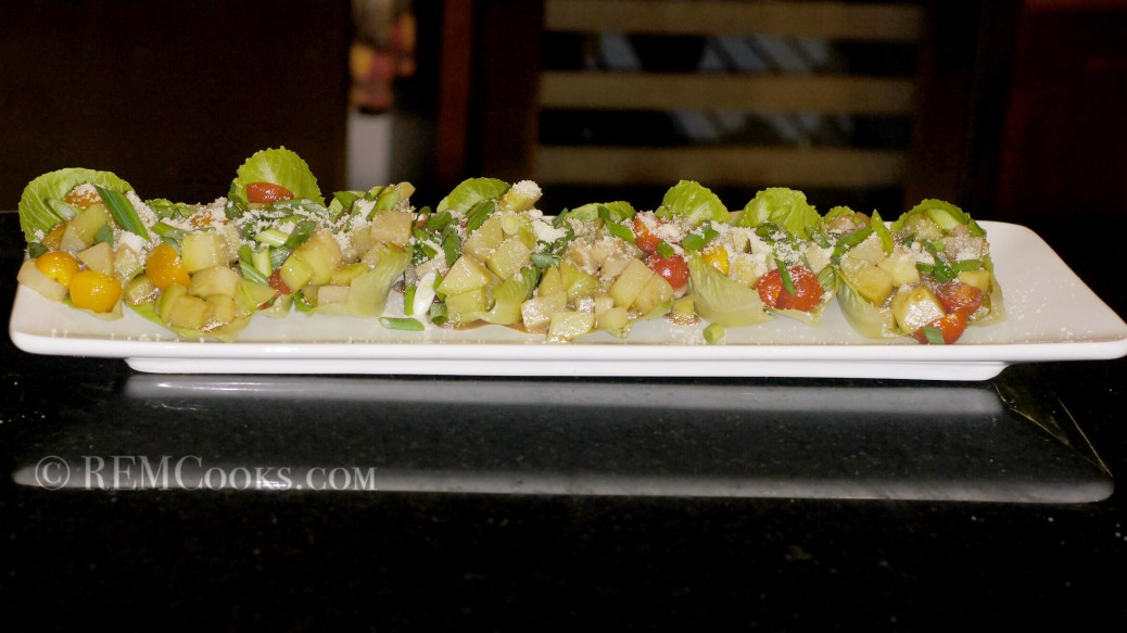 Chayote Salad with Roasted Serrano, Garlic, Balsamic Vinaigrette & Cotija Cheese