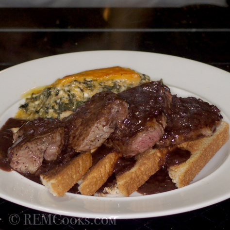 Open Face Sandwich with Tournedos of Beef Tenderloin with Bordelaise Sauce